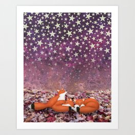 foxes under the stars Art Print