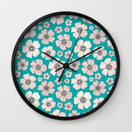 Pink Roses On Teal Wall Clock