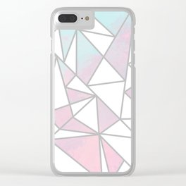 Modern white pink teal watercolor geometrical shapes Clear iPhone Case