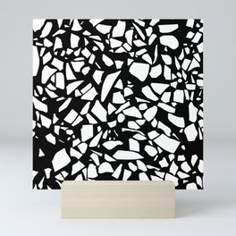 Terrazzo White on Black Mini Art Print