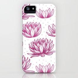 Pink Lotus Flowers Beautiful Simple Flower Pattern iPhone Case