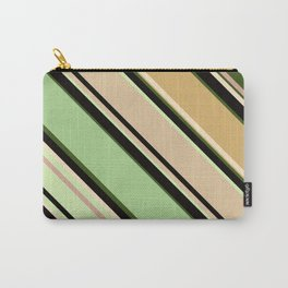 Striped pattern, diagonal.Brown, beige, green ,black stripes. Carry-All Pouch
