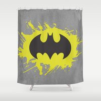 bat man Shower Curtains featuring Bat Man by Some_Designs