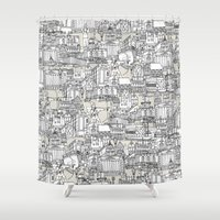 champagne Shower Curtains featuring NOTTINGHAM CHAMPAGNE by Sharon Turner