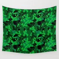 camouflage Wall Tapestries featuring Camouflage (Green) by 10813 Apparel