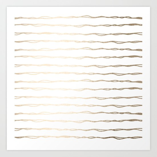 Simply Wavy Lines in White Gold Sands on White Art Print