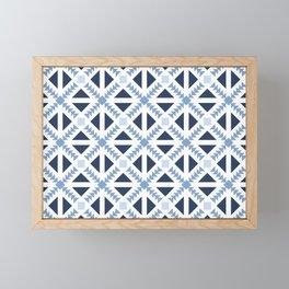 Geo Stamp Blue Framed Mini Art Print