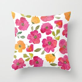 Watercolor Spring Flower Pattern Pink Yellow Throw Pillow