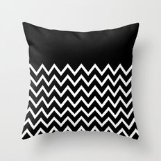 White Chevron On Black Throw Pillow