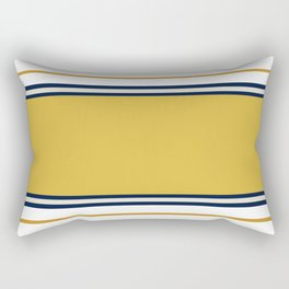 Wide and Thin Stripes Color Block Pattern in Mustard Yellow, Navy Blue, Champagne, and White Rectangular Pillow