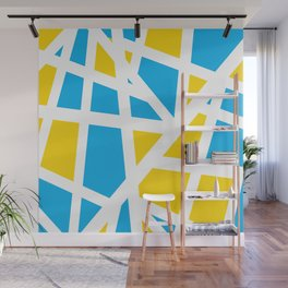 Abstract Interstate  Roadways Aqua Blue & Yellow Color Wall Mural
