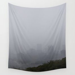 Foggy Pittsburgh Skyline Wall Tapestry