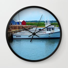 Lobster Boats and Traps Wall Clock