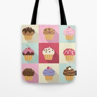 cupcakes Tote Bags featuring Cupcakes by Rosa Puchalt