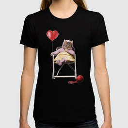A pretty, little kitty with a heart-shaped balloon T-shirt