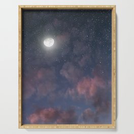 Glowing Moon on the night sky through pink clouds Serving Tray
