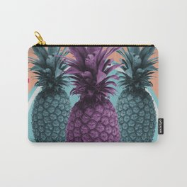 Pineapple Print - Tropical Decor - Botanical Print - Pineapple Wall Art - Brown, Blue - Minimal Carry-All Pouch