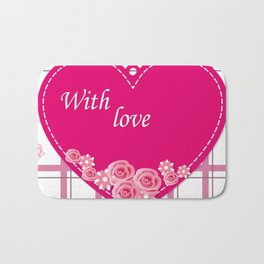 pink heart with roses Bath Mat