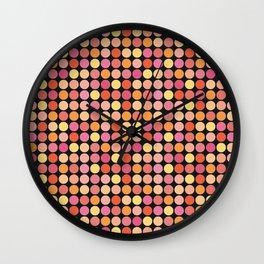 Small Polka dots on Black Wall Clock