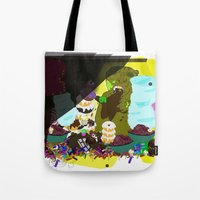 cookie monster Tote Bags featuring Cookie Monster by Vito Giorgio