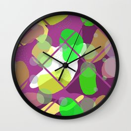 Retro Abstract Multicolored 80s Burgundy Memphis Pattern Wall Clock