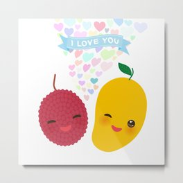 I love you Card design with Kawaii lychee and mango with pink cheeks and winking eyes Metal Print