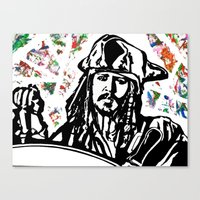 jack sparrow Canvas Prints featuring Jack Sparrow....Captain Jack Sparrow.. by Kramcox