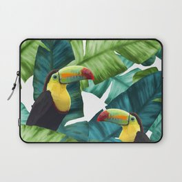 Toucans Tropical Banana Leaves Pattern Laptop Sleeve