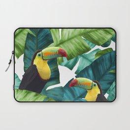 Toucans Tropical Banana Leaves Pattern Laptop Sleeve