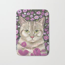 Kitty with Poppies Bath Mat