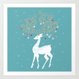 Christmas Deer (Turquoise)  Art Print