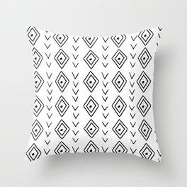 mudcloth 9 minimal textured black and white pattern home decor minimalist beach Throw Pillow