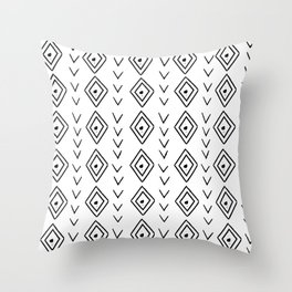 mudcloth 9 minimal textured black and white pattern home decor minimalist beach Throw Pillow