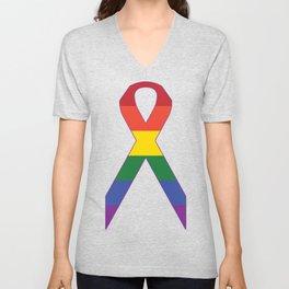 Gay Ribbon Unisex V-Neck