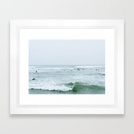 Tiny Surfers Lima, Peru 3 Framed Art Print