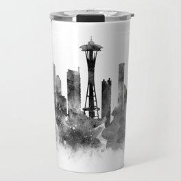 Seattle Black and White Travel Mug