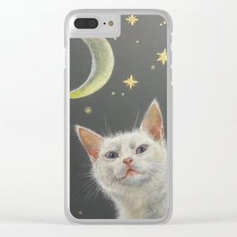 Night cat and moon Clear iPhone Case