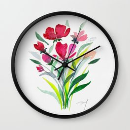 Roses on square canvas Wall Clock