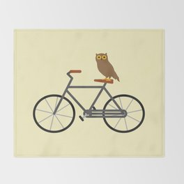 Owl Riding Bike Throw Blanket