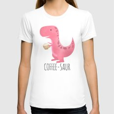 Coffee-saur | Pink SMALL White Womens Fitted Tee