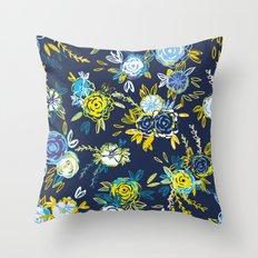Flower Garden in Navy Neon Throw Pillow