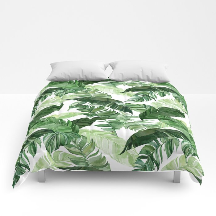 Green leaf watercolor pattern Comforters
