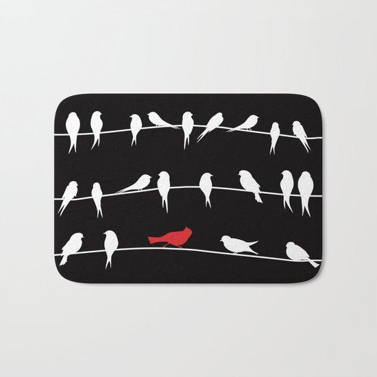 Birds on wires Bath Mat