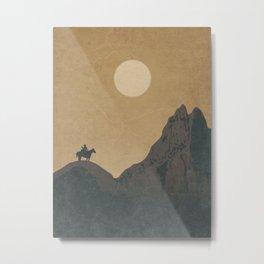 Roaming Paladin: A Cowboy Wandering Desert Sunset Metal Print