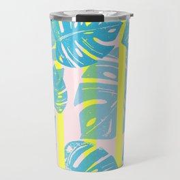 Linocut Monstera Neon Travel Mug