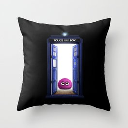 Tardis And Cute Monster Throw Pillow