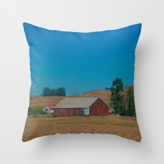 Red Barn in Napa Throw Pillow