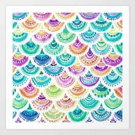 RAINBOW MERMACITA Colorful Mermaid Scales Art Print