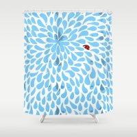 ladybug Shower Curtains featuring ladybug by vidikay