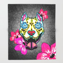 Slobbering Pit Bull - Day of the Dead Sugar Skull Pitbull Throw Blanket